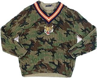 Mens Sweater Medium Camo Print V-Neck