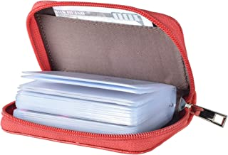 Easyoulife Genuine Leather Credit Card Holder Zipper Wallet With 26 Card Slots
