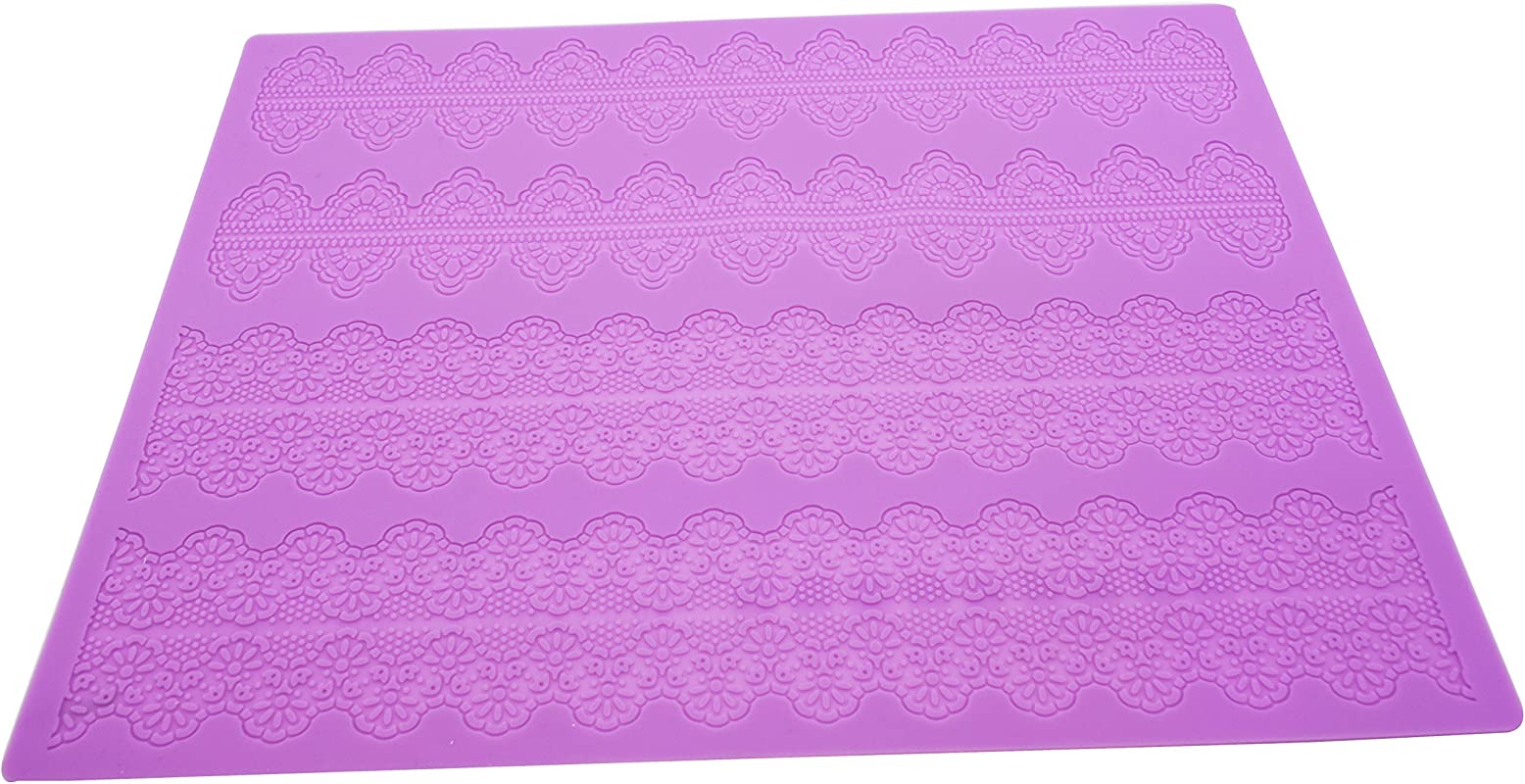 Silicone Lace KOOTIPS 15 1 X 11 2 Inches Vines Scrolls Cake Decorating Mold Decorating Tools Embossing Cake Fondant Mold Cupcake Mat For Cake Decorating Lace Mat A