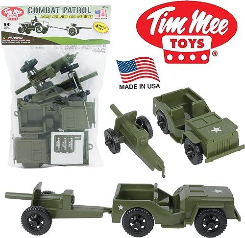 compras en linea TimMee COMBAT PATROL Willys & Artillery    verde 4pc Playset USA Made by Tim Mee  envío gratis