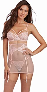 Dreamgirl Women's 3 Piece Set: Fishnet and Lace Bra, Garter Skirt and G-String