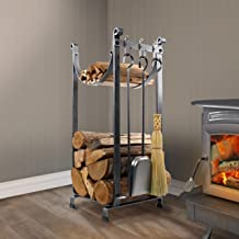 product image for Enclume Handcrafted Sling Fireplace Log Rack w Bar and Tools Hammered Steel