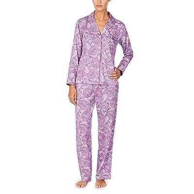 LAUREN Ralph Lauren Sateen Woven Long Sleeve Notch Collar Long Pants Pajama Set (Purple Print) Women