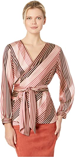 Long Sleeve Stripe Soiree Belted Wrap Blouse