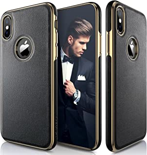 LOHASIC iPhone Xs Case, iPhone X Case Luxury Leather Ultra Slim & Thin Soft Flexible Gold Electroplated Bumper Anti-Slip Grip Scratch Resistant Protective Cover for Apple iPhone X XS (2018) - Black