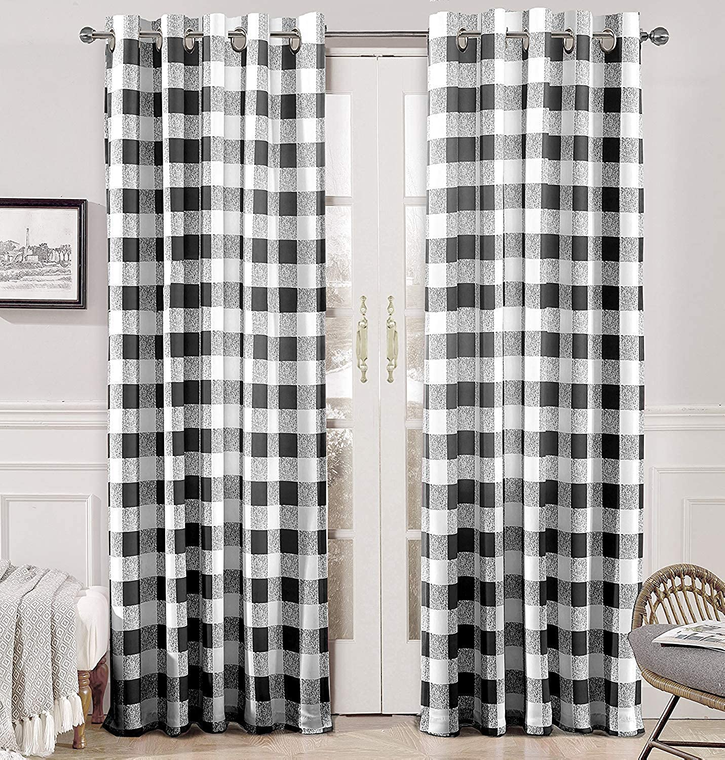 DriftAway Buffalo Checker Pattern Lined Thermal Insulated Blackout Room Darkening Grommet Window Curtains, Printed Plaid, 2 Layer, Set of Two Panels, 52 X96  (Balck)