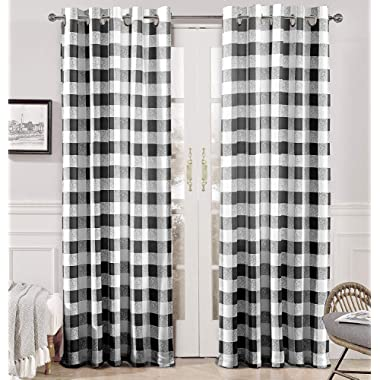 DriftAway Buffalo Checker Pattern Lined Thermal Insulated Blackout and Room Darkening Grommet Window Curtains Printed Plaid 2 Layer Set of 2 Panels 52 Inch by 96 Inch Black