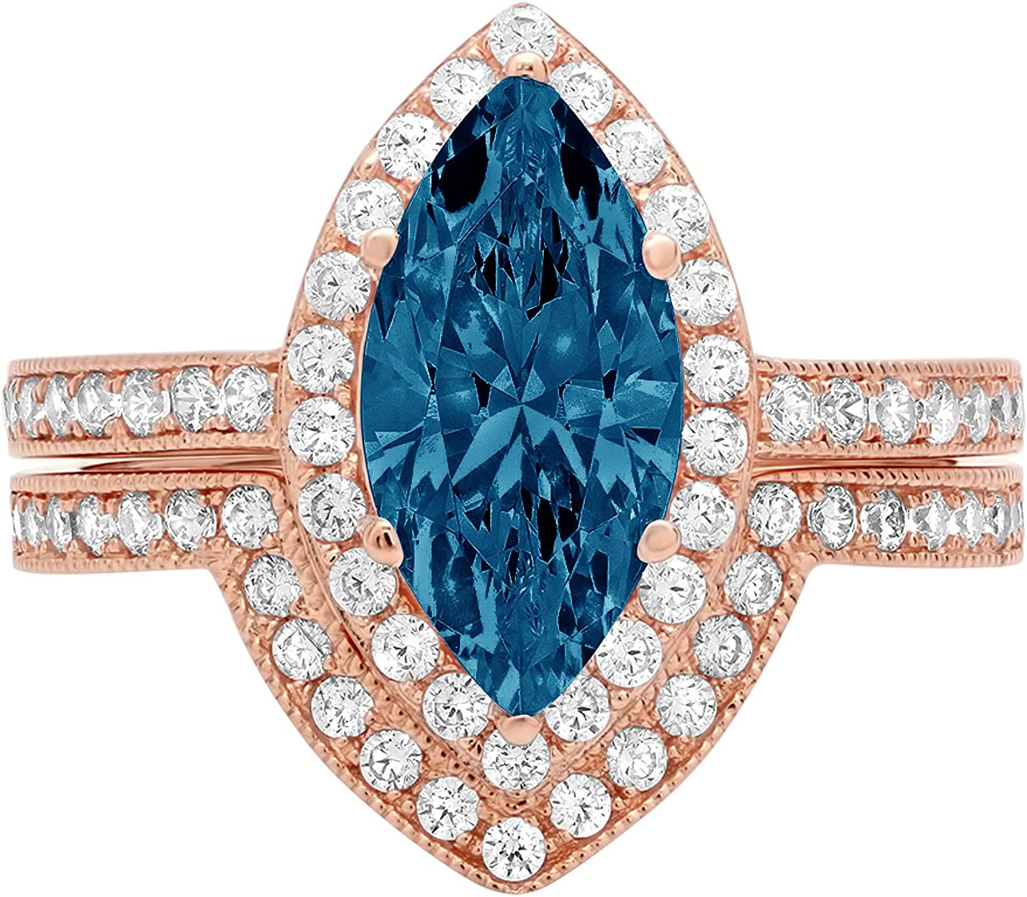 2.1ct Marquise Round Cut Pave Halo Solitaire with Accent VVS1 Ideal Natural Royal Blue Engagement Promise Designer Anniversary Wedding Bridal Ring band set 14k Rose Gold
