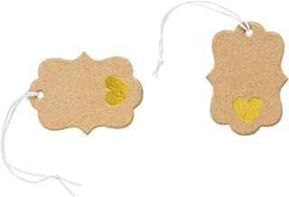 Get Organized 30014763 Jewelry Price Tags with Elastic Strings, Gold Heart, 100 Pieces