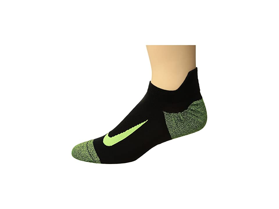 Nike Elite Merino Lightweight No Show Running Sock (Black/Black/Volt) No Show Socks Shoes