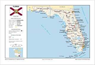 13x19 Florida General Reference Wall Map - Anchor Maps USA Foundational Series - Cities, Roads, Physical Features, and Topography [ROLLED]