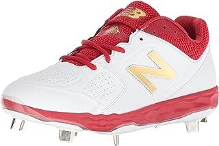 New Balance Women's Velo V1 Metal Softball Shoe, red/White, 8 D US
