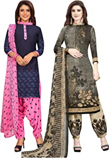 S Salwar Studio Women's Pack of 2 Synthetic Printed Unstitched Dress Material Combo-MONSOON-2883-2892