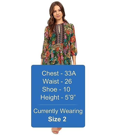 3 4 Morgan Sleeve Printed Chiffon Dress Donna 1E7w5q1
