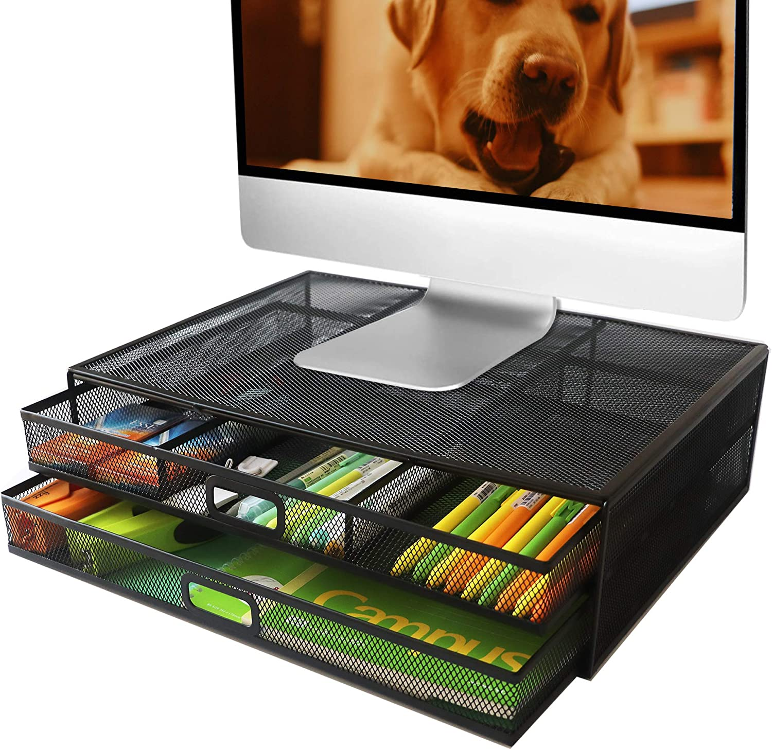 Monitor Stand Riser with Drawer - Metal Office Supply Mesh Desk Organizer and Storage with 2 Large Pullout Drawers for Laptop PC Printer Computer, Black