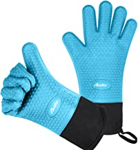 Auzilar Silicone Cooking Gloves, Grilling Gloves, Heat Resistant Gloves BBQ Kitchen Silicone Oven Mitts, Long Waterproof Non-Slip Potholder for Barbecue, Cooking, Baking