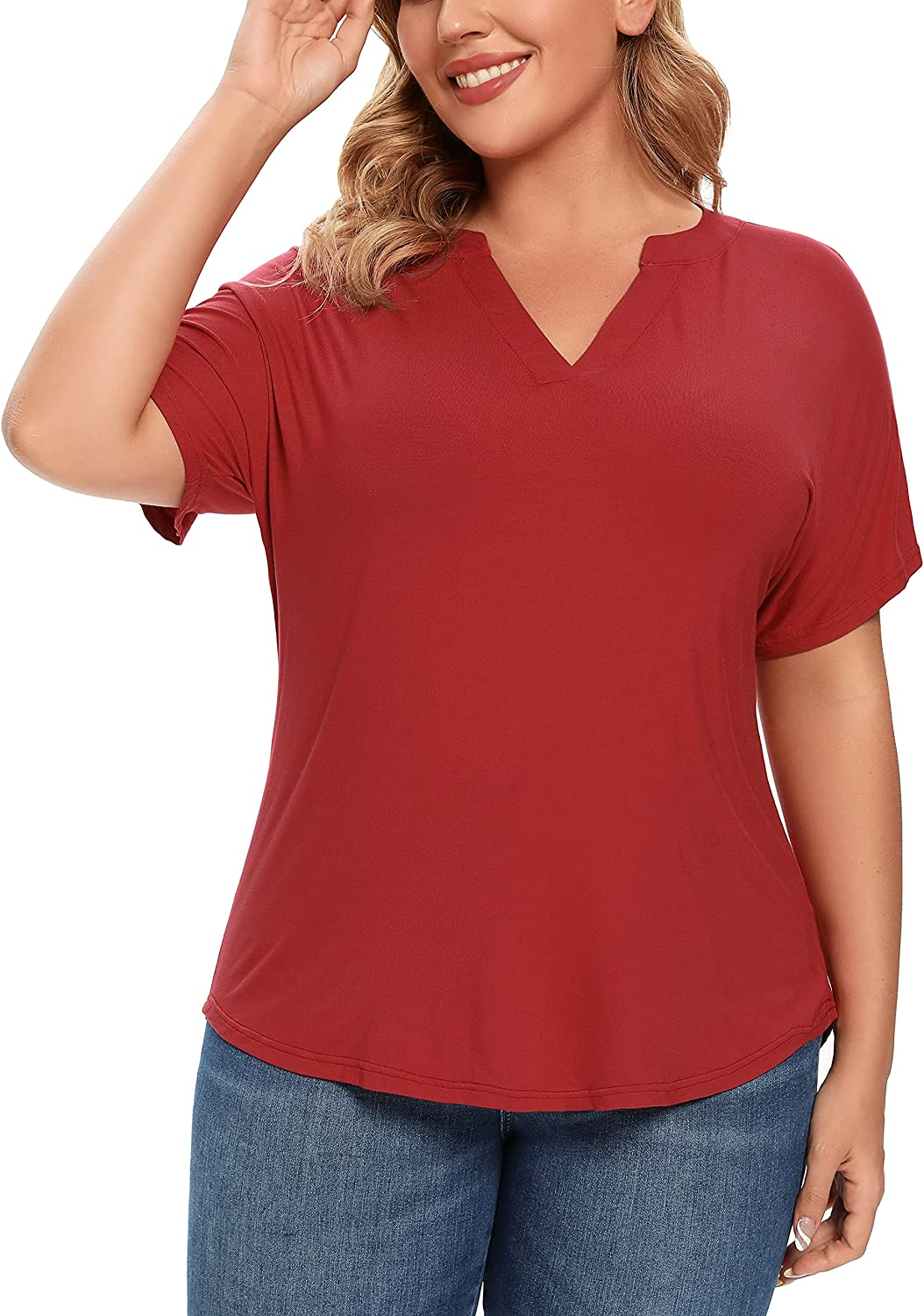 Flzzvyn Womens Plus Size Batwing Short Sleeve Pullover Henley T-Shirt Casual Tops Summer Blouse(Wine Red,4X)