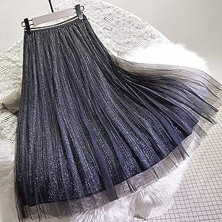 ZJMIYJ Kjolar för kvinnor – hög midja veckad svart guld midi kjolar tyllkjol damer casual elastisk sommar höst dammodekläd...
