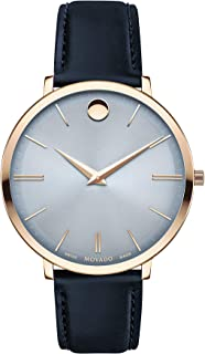 Movado Ultra Slim, Pale Rose Gold PVD Case, Blue Dial, Navy Leather Strap, Women, 0607402
