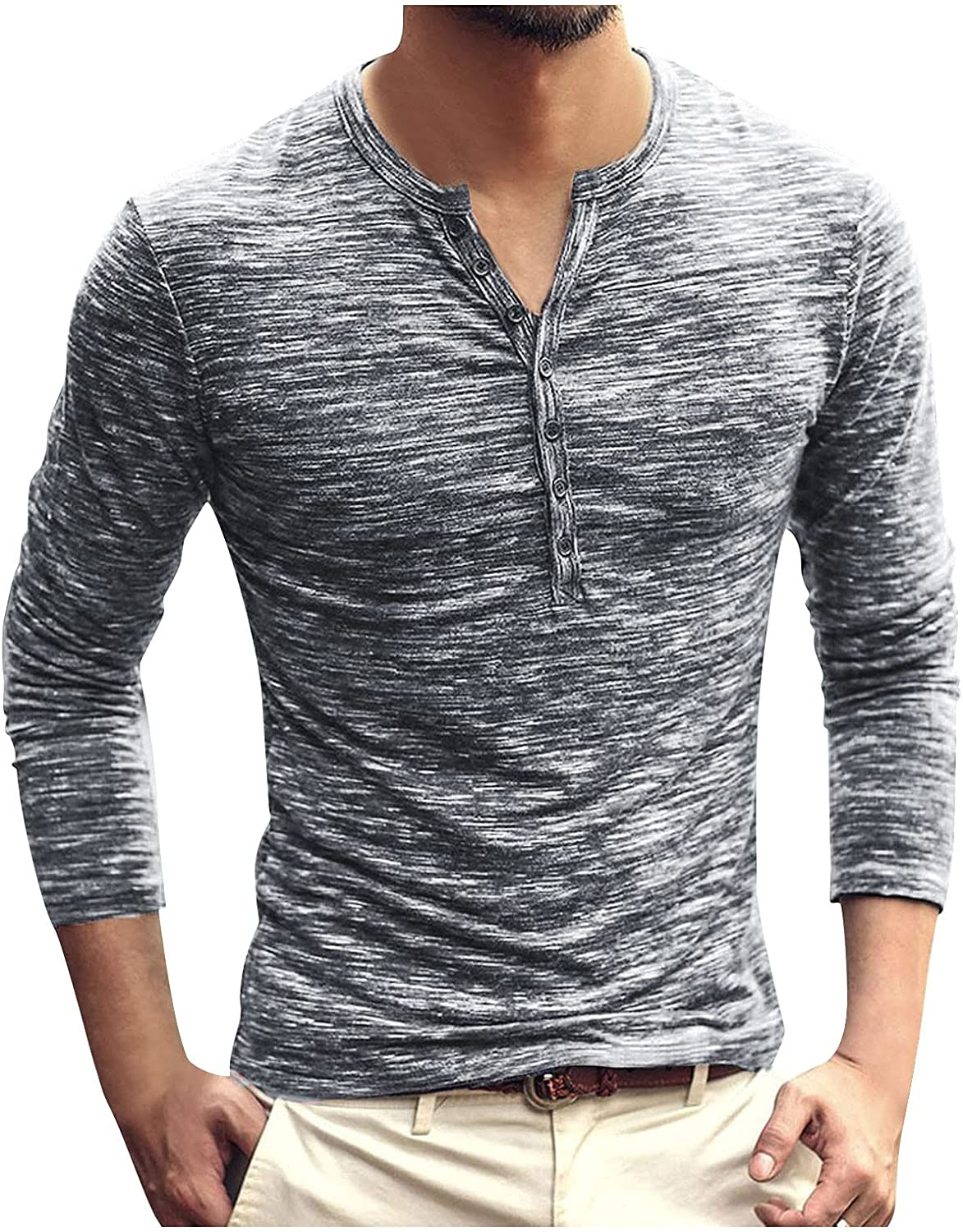 Aayomet Men's T Shirts Long Sleeve Slim Fit Button Down Henley T-Shirt Casual Sport Workout Athletic Tee Tops Shirts