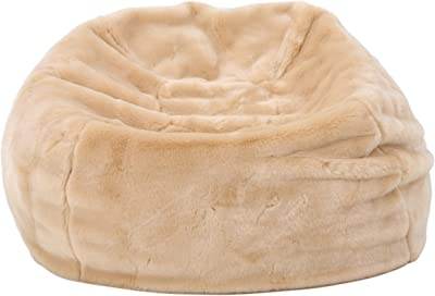 Heavy Metal Inc Meridian Bean Bag Plush Faux Fur Chair   Comfortable and Fun Beanbag for The Whole Family  Non-Spill Memory Foam Filling (Tannery)