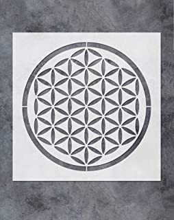 GSS Designs Flower of Life Stencil for Crystal Grid Art Painting (12x12 Inch) - Mandala Flower of Life Reusable Stencils - Laser Cut Painting Stencil for Floor Wall Tile Fabric Wood Decor(SL-064)