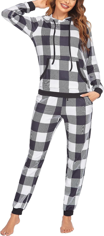 Ekouaer Pajama Set for Women Long Sleeve Sleepwear Star/Plaid Print Hoodie 2 Piece Jogger Pj Sets with Pockets