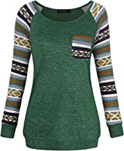 FANSIC Women Casual Long Sleeve Knitted Raglan Shirts Pullover Sweater Tops Short Sleeve with Pocket