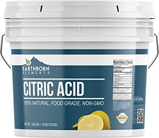 Citric Acid (1 Gallon) Natural & Highest Quality, Pure, Food Safe, Non-GMO, Resealable Bucket by Earthborn Elements