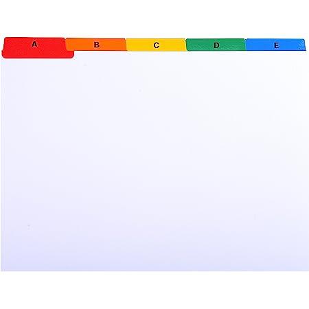Exacompta - Ref. 13998E - Un Paquet de 25 Fiches Intercalaires pour Boite à Fiches, Imprimés de A à Z Carte Blanche 160G 25 Compartiments - Dimensions 16X21cm - A5