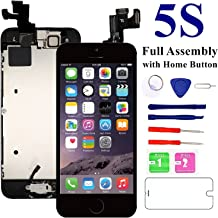 for iPhone 5S Screen Replacement-Black, with Home Button, Front Camera, Earspeaker - MAFIX Full Assembly LCD Display Digitizer Touch Screen Repair Kits for A1533, A1453