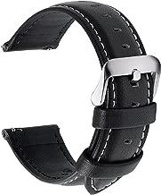 Fullmosa Axus Correa Piel, 12 Colores para Correa Reloj, Huawei Samsung Correa/Banda/Pulsera/Strap 14mm 16mm 18mm 19mm 20mm 22mm 24mm, Negro + Hebilla de Plata, 22mm