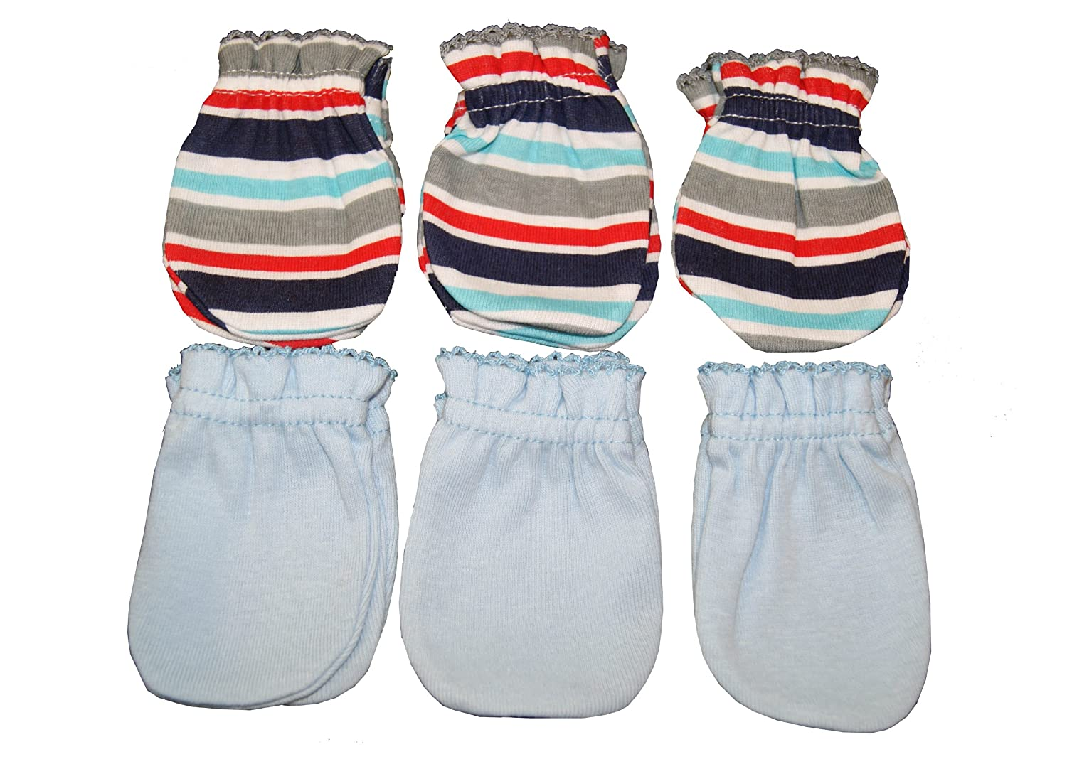 Stria + Blue Atlanta Mall MIX 6 Pairs New color Cotton Mittens G Scratch infant Baby No