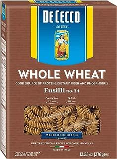 De Cecco Whole Wheat Pasta, Fusilli, 13.25 Ounce (Pack of 12)
