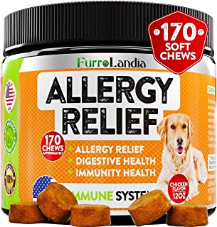 FurroLandia Allergy Relief Immune Supplement for Dogs - Seasonal & Food Allergies - Skin Itch, Hot Spots and More - Suppor...