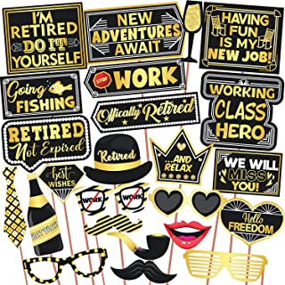 Wobbox Retirement Photo Booth Party Props Golden & Black, Retirement Party Decoration, Retirement Decoration Item