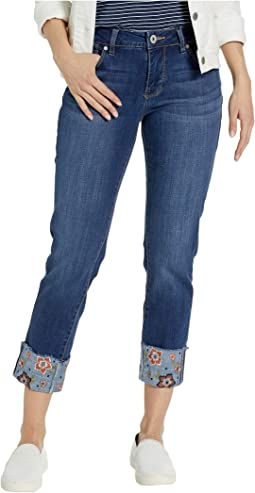 Carter Girlfriend Jeans w/ Embroidered Cuff in Thorne Blue
