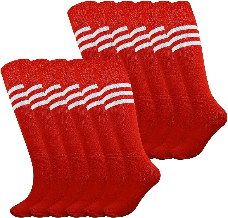 Fitliva Knee Length Striped Unisex Sports Socks Multicolor 3 6 12 Pairs