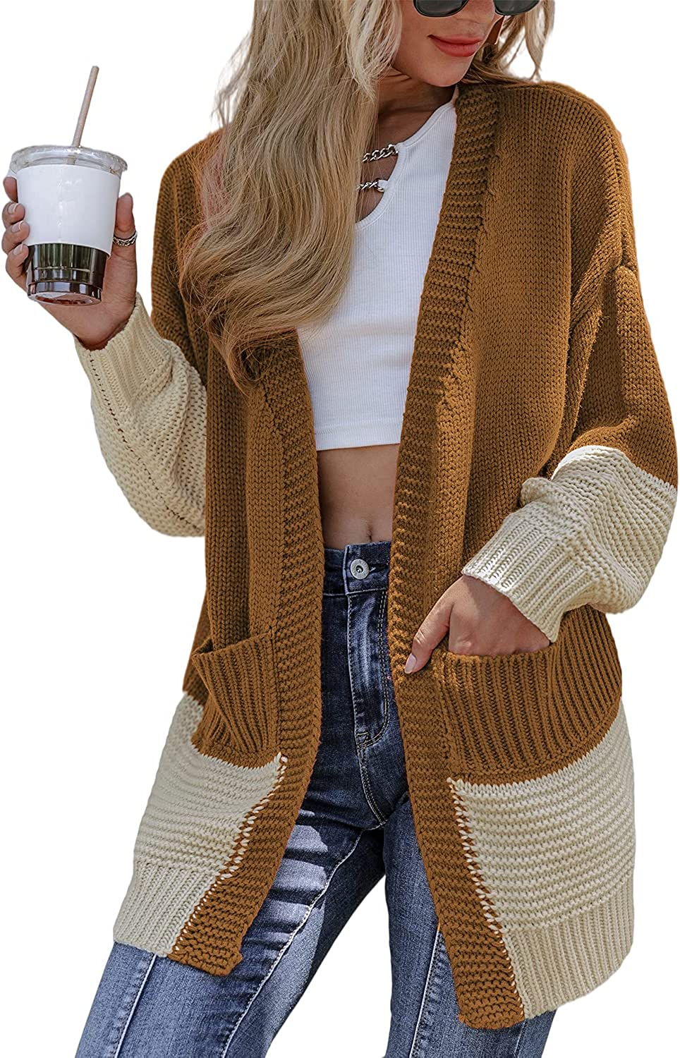 Miessial Women's Long Sleeve Color Block Chunky Knit Cardigan Sweaters Loose Open Front Sweater Coat with Pockets