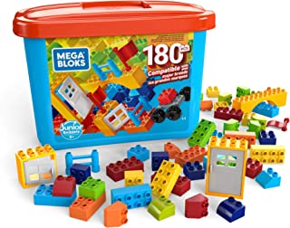 Mega Bloks Open-Ended Play Brick Box for Junior Builders: Building Toys for Creative Play (180 Pieces)