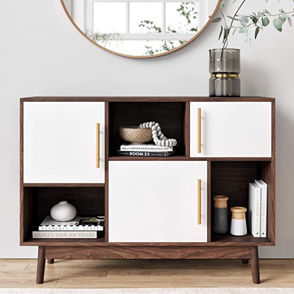 Nathan James 75502 Ellipse Modern Multipurpose Display Storage Unit Entryway Furniture White Brown