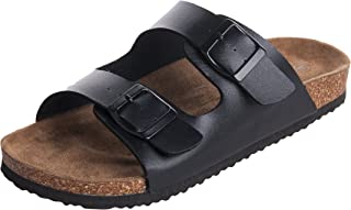 Men's Arizona 2-Strap PU Leather Platform Sandals, Slid-on Cork Footbed Sandals with Double Metal Adjustable Buckles, Causal Style