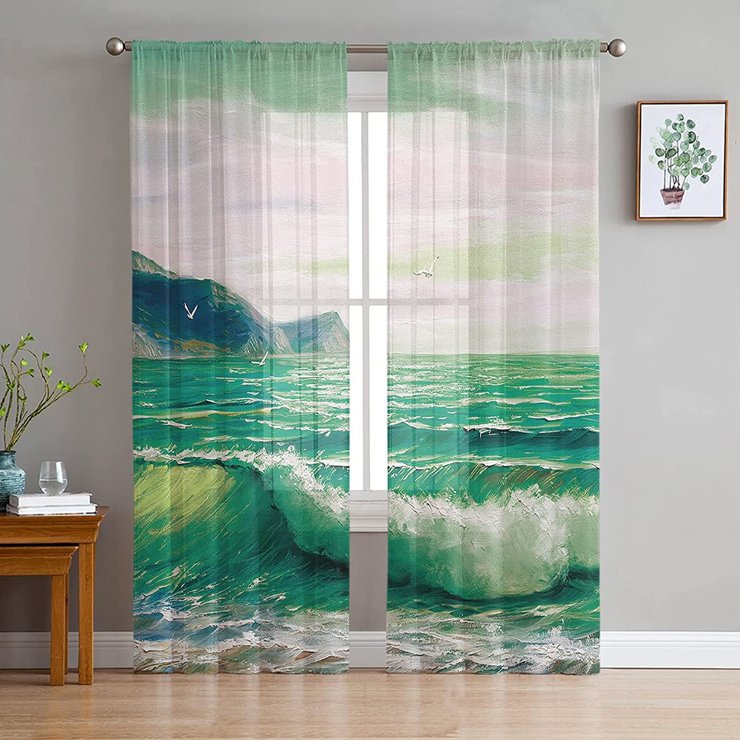 2 Panels Inventory cleanup selling sale Sheer Voile Superior Rod Pocket Summer Ocean Green Curtain Beach