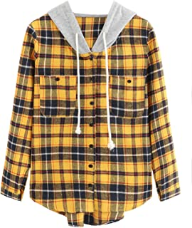 Women's Long Sleeve Plaid Hoodie Jacket Button Down Blouse Tops