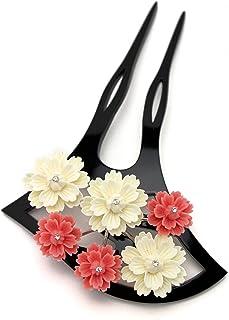 (ソウビエン) バチ型簪 白 黒 ピンク 桜 花 ラインストーン 結婚式 成人式 卒業式