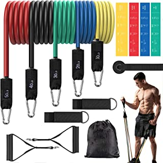 ROSAPOAR Resistance Bands Set (16pcs), Exercise Bands for Men and Women, Workout Bands with Door Anchor, Handles, Carry Ba...