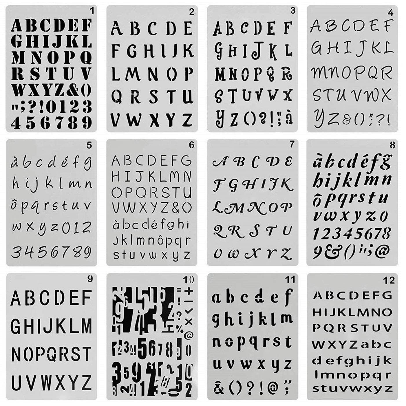 ONEST 12 Pack Letter and Number Stencils Alphabet Stencil Journal/Notebook/Diary/Scrapbook DIY Drawing Template Stencil, 4x7 Inch