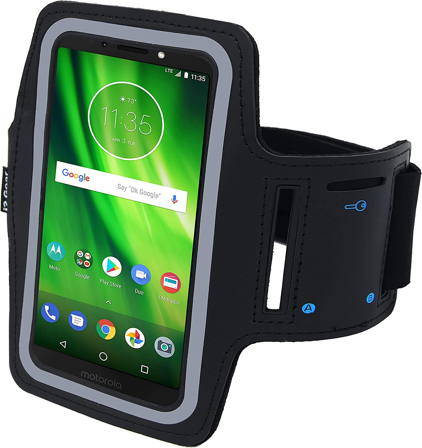 i2 Gear Cell Phone Armband Case for Running - Workout Phone Holder with Adjustable Arm Band, Reflective - XL fits Moto One Power P30, Moto G7, G6, G6 Play, G4 Plus, Moto Z3, Z, Z Play, E5