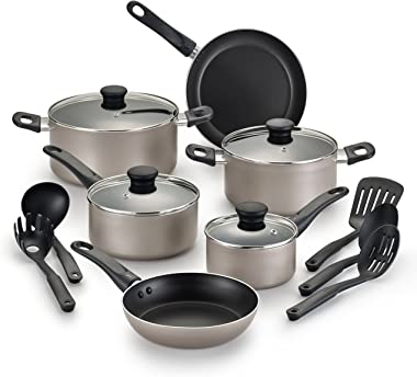 WearEver, Champagne Nonstick Cookware, Pots and Pans Set, 15 Pieces