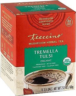 Teeccino Mushroom Adaptogen Herbal Tea – Tremella Tulsi with Cardamom – Support Your Health with Mushrooms ...